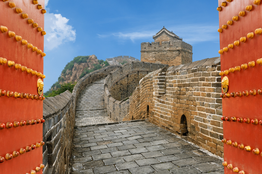 chinese red gate and the magnificent great wall of china by zhaojiankang Copy