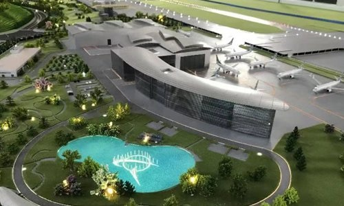 The miniature model of Boeings Zhoushan Compeletion and Delivery Center