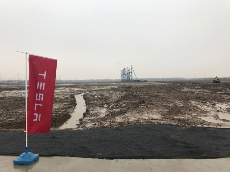 The site of Teslas future Shanghai factory on Monday Jan. 7 2019. The electric car maker acquired the land on the outskirts of the city in October