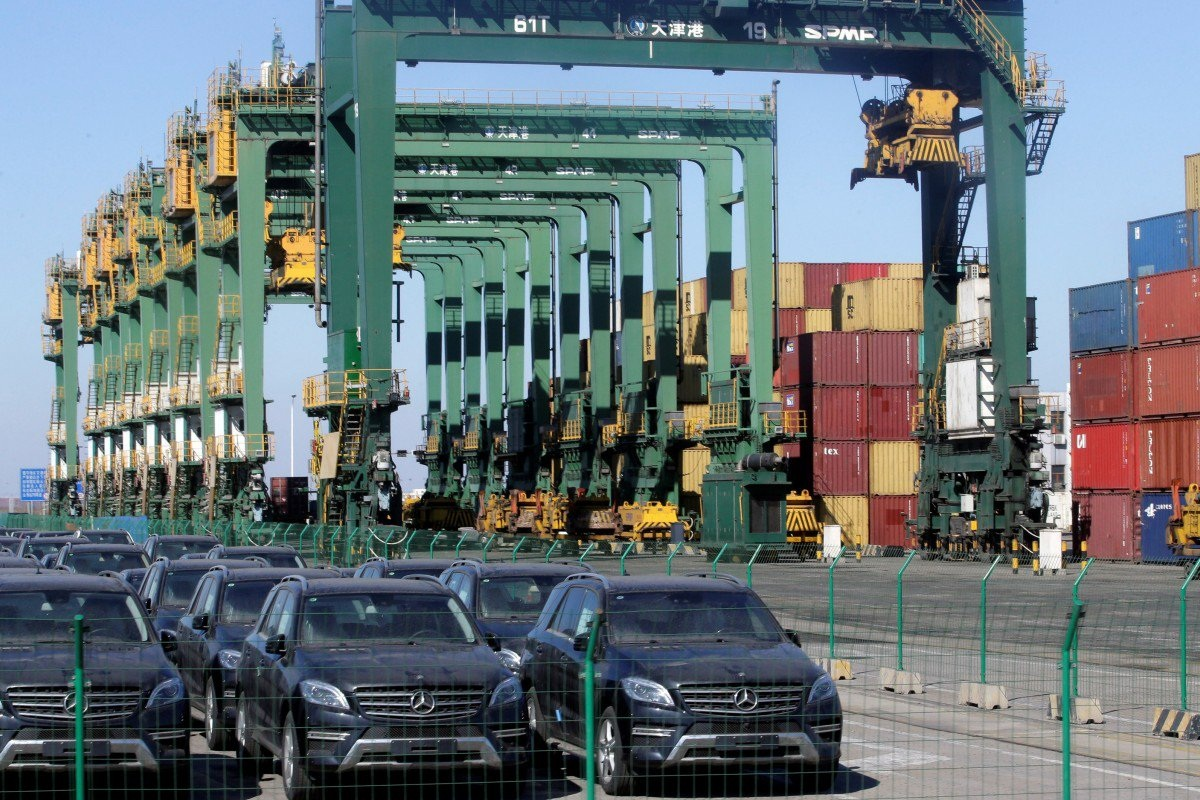 Imported Mercedes Benz cars at Tianjin Port