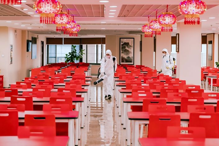 A banks canteen is disinfected in Dalian Liaoning province