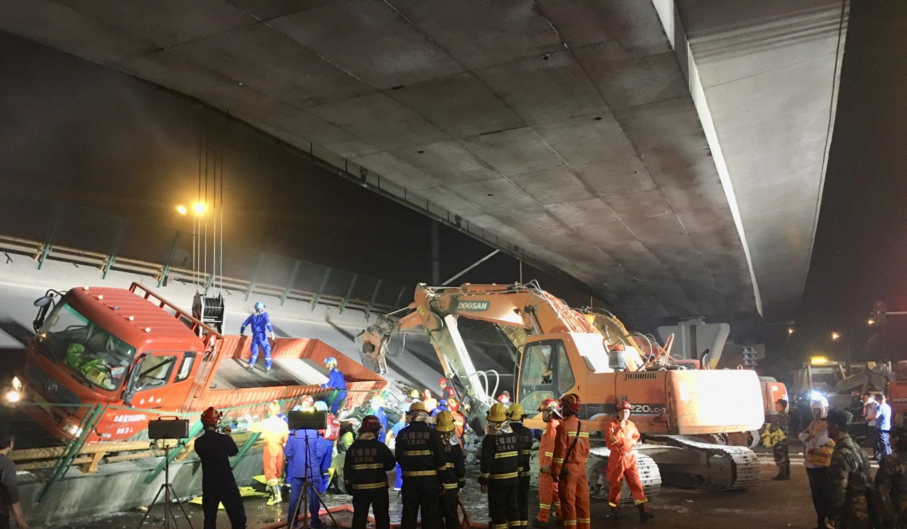 The flyover collapsed at about 6pm on Thursday